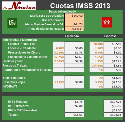calculo de cuotas imss 2013 en excel