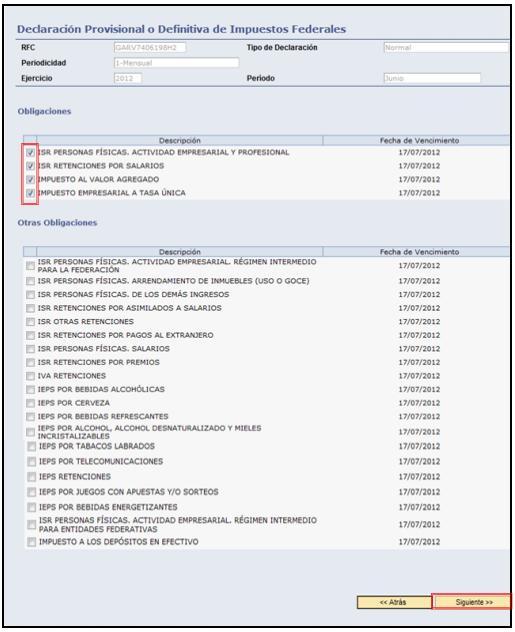 servicio de declaraciones y pagos 2012