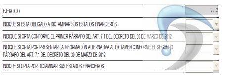 opcion para dictaminar el ejercicio fiscal 2012